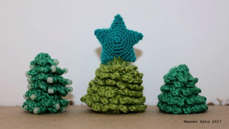 gehäkelte Tannenbäumchen - Anleitung auf www.weanerantn.at #Weihnachten #Tanne #Baum #Perlen #häkeln