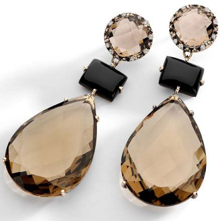 Nude Casual Collection - #Brumani Earrings in 18k white vintage gold with diamonds, black and smoky quartz. #valentine #Gift
