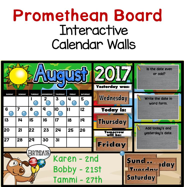 Kindergarten Calendar For Promethean Board : Best a teacher in paradise store promethean board