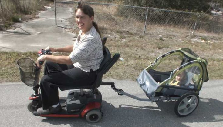 Child Trailer Towed With Electric Mobility Scooter