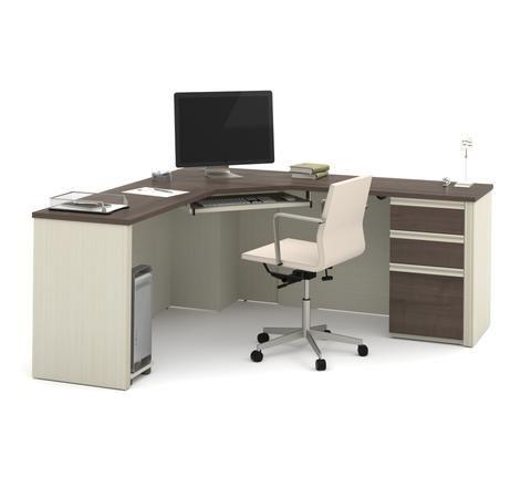 71 X Modern Corner Desk In White Chocolate Antigua