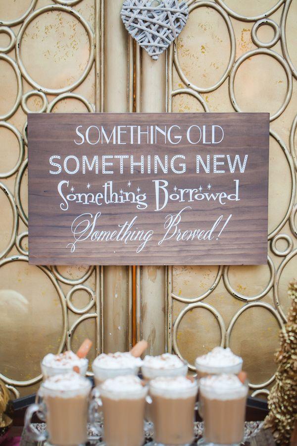 drink bar signs - photo by Casey Hendrickson Photography http://ruffledblog.com/plum-winter-wedding-inspiration #weddingsigns #signage