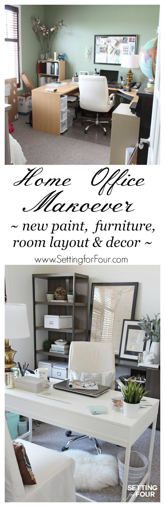 Home Office Makeover Before And After Paint Colors