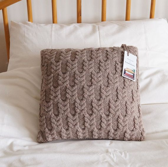 Knitted Pillow Cover, Hand Knitted Cushion Cover, Beige Pillow Sham, Cable Knit Pillow,14