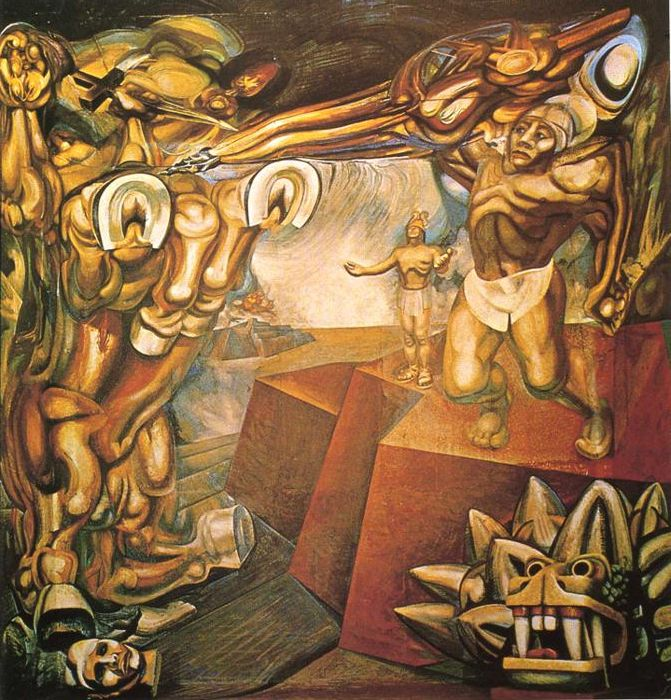 Cuauht moc contra el mito david alfaro siqueiros for Arte mural mexicano