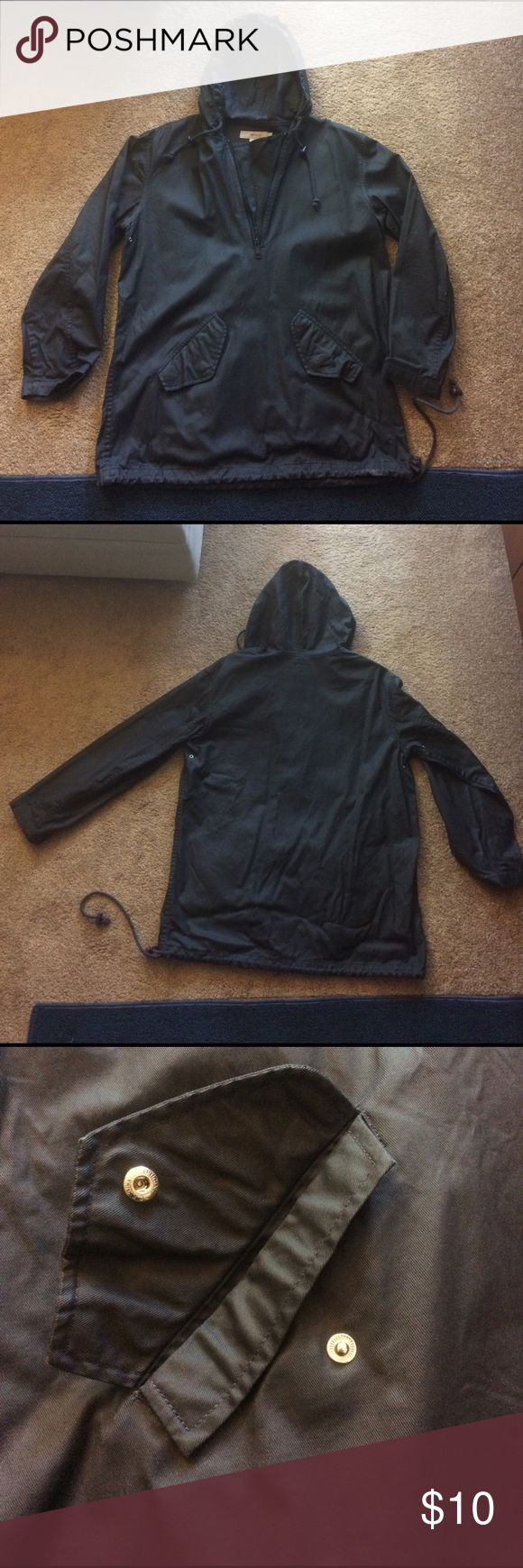 J. Crew Men's Rain Jacket Black Used This J. Crew rain jacket is perfect for those spring rainstorms. It is light weight and even has a 3/4 zipper neckline. It is used (wear shown in pictures) and has wear around the edge of the sleeves and edges. The label also has someone's name written on it (shown in pictures). It is used but can still be worn! J. Crew Jackets & Coats Raincoats