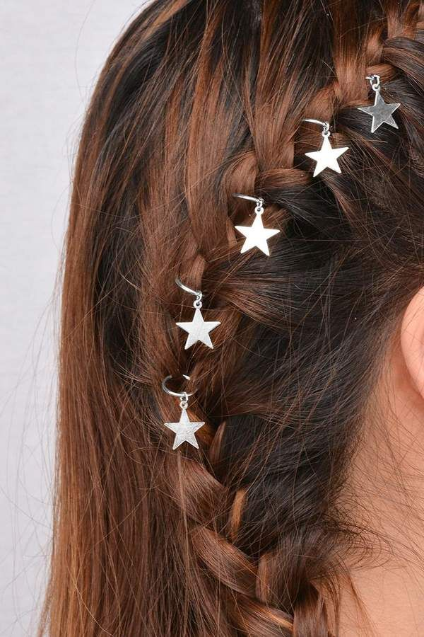 4865ef0a90 SheIn Star Shaped Hair Ring Set | sʈყlє in 2019 | Hair clips for ...