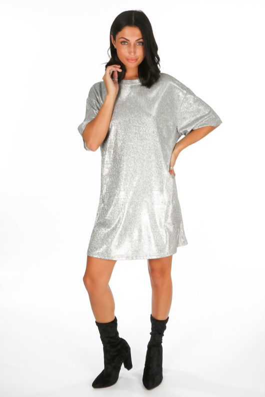 14c8ad43c1 Silver Glittery T-Shirt Dress