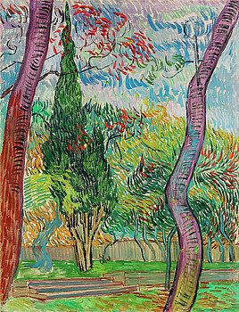 Vincent Van Gogh - Saint Remi Hospital Gardens, 1889 (Private Collection) Sold at auction in 2010 for over $13 million. Poor Van Gogh...if only he could have made more money from his beautiful art!