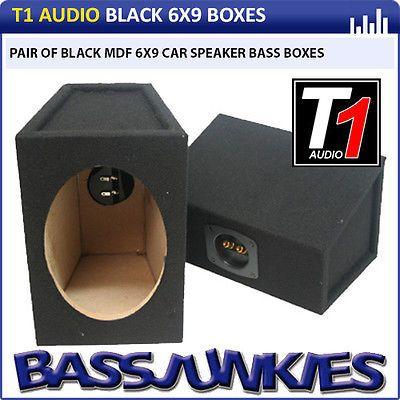 T1 Audio T1-6x9 Pair 6x9 Car Speakers Box Bass Enclosure 15mm MDF BLACK Carpet