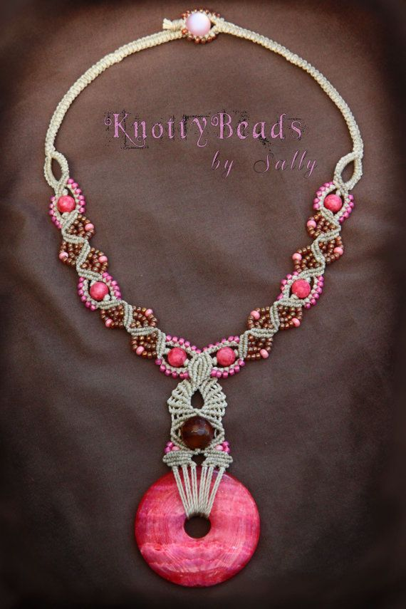 Pink Cream Sensation Macrame Necklace ~ Pink Natural Stone Pendant ~ Macrame Jewelry