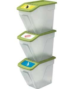 Set of 3 34 Litre Plastic Recycling Bins.