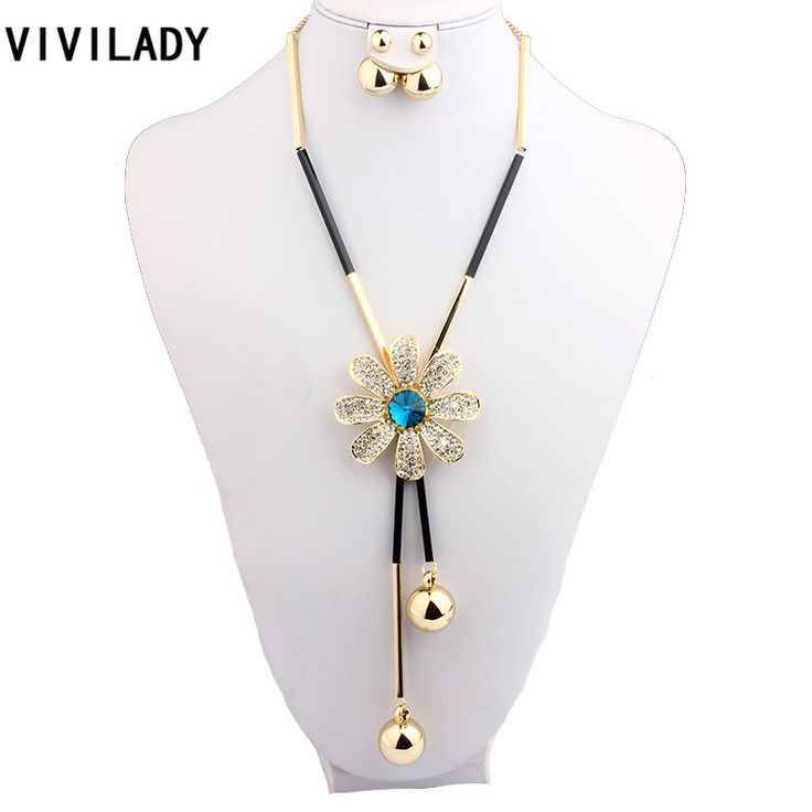 VIVILADY Fashion Crystal Flower Jewelry Sets Women Mother Gold Plated Long Beads Chain Sweater Necklaces Earrings Birthday Gifts