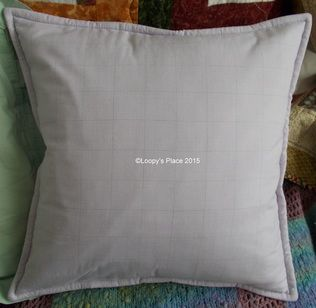 Sample Cushion from Create With Loopy Class http://www.loopysplace.co.uk/design-and-make-a-beautiful-cushion-from-recycled-shirts.html  #createwithloopy #cushion #recycled