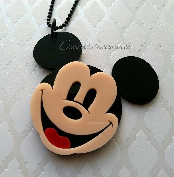 RETRO 80s STYLE BIG MICKEY MOUSE KITCH PENDANT BLACK NECKLACE PLEXI GLASS LUCITE  | eBay