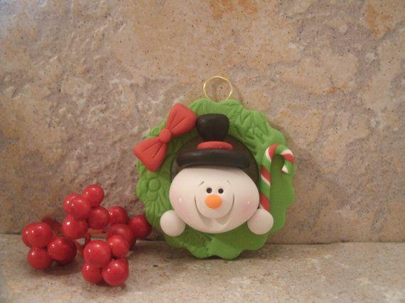 Snowman and Christmas Wreath - Ornament