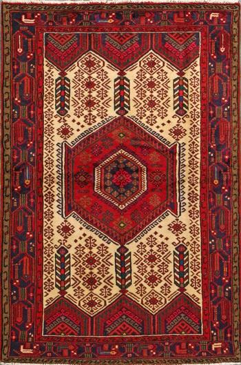 "Heriz Persian Rug, Buy Handmade Heriz Persian Rug 4' 1"" x 6' 3"", Authentic Persian"