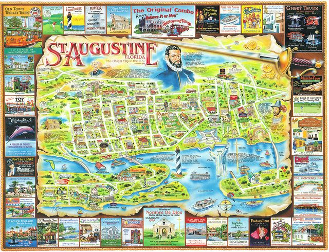 florida st augustine map postcard fountain beach and resorts