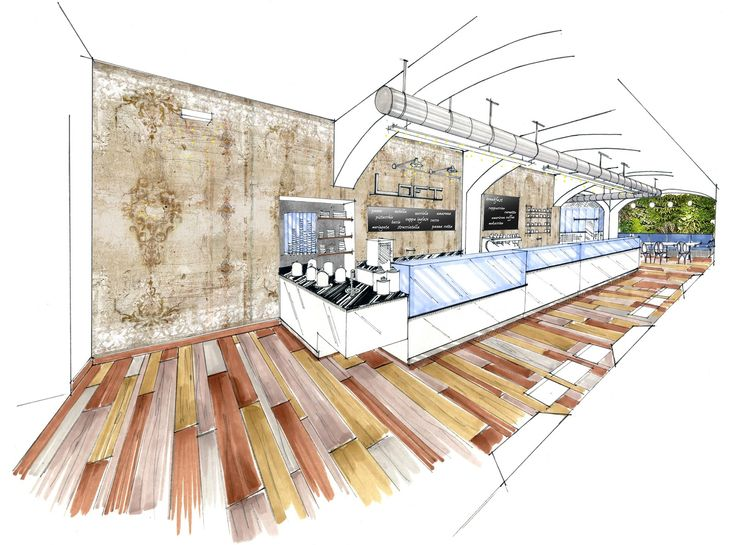 Interior Design Drawings: Bakery And Gelato Shop