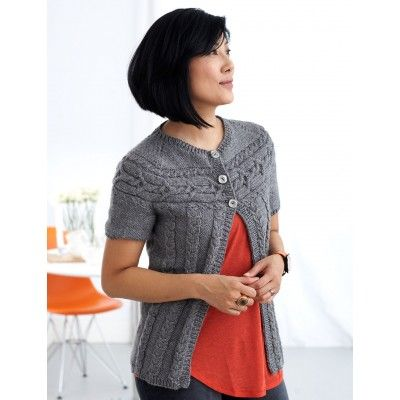 Cardigan with Cabled Yoke - Patterns | Yarnspirations