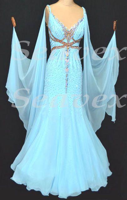 Ballroom Standard Cocktail Waltz Tango Quickstep US8 Dance Dress #B3212 Blue