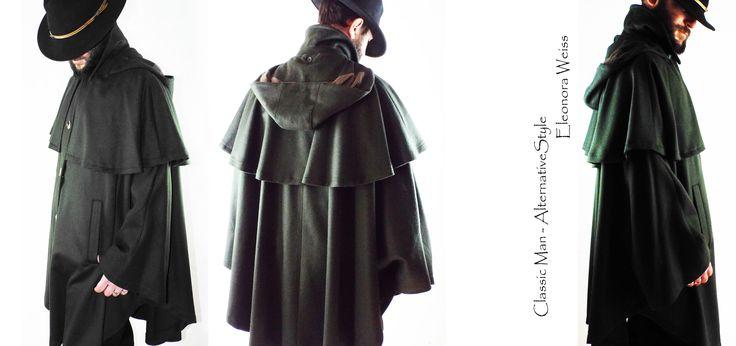 Alternative Style Man Mantella in loden - cappuccio e mantella staccabili