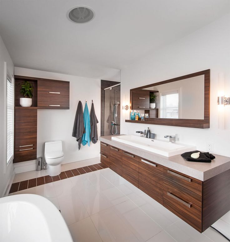 Vanité de salle de bain en mélamine.