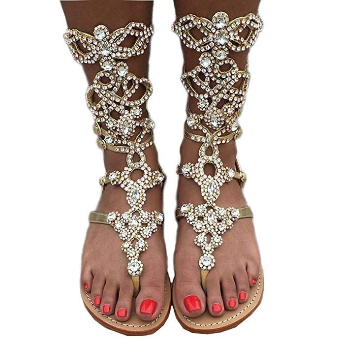 various styles cheap for discount cheapest Amazon.com   Women's Rhinestone Gladiator Sandals, Plus Size ...