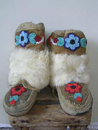 Vintage Native American  Beaded Moccasins - smoke tanned Cree Snow Moccasins