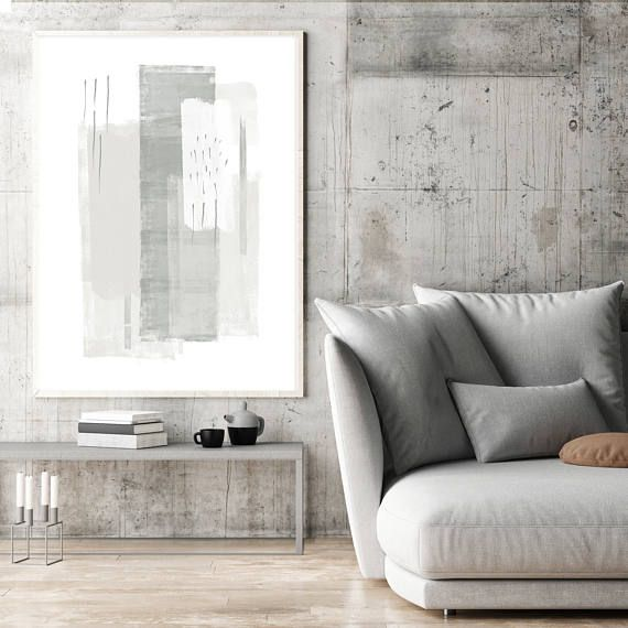 Grey Abstract Art, Grey and White Painting, Large Minimalist Paintings, Printable Minimal Art, Minimalist Modern Art, Original Wall Art