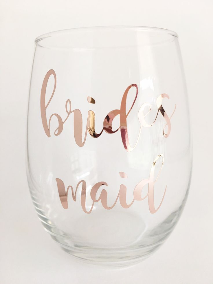 Rose Gold Bridesmaid Wine Glass - Bridesmaid gift - Bridal Party Gifts - Maid of Honor Wine Glass - Bridal Wine Glasses - Rose Gold Wedding by OneDaintyTulip on Etsy https://www.etsy.com/listing/496083888/rose-gold-bridesmaid-wine-glass