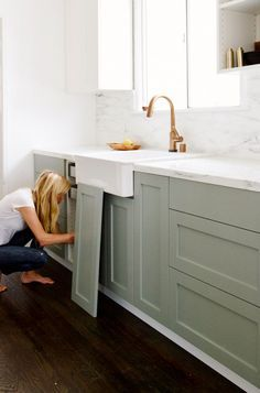 Corian Linen counters, gray cabinets, farmhouse sink   Our House   Pinterest   Gray Cabinets, Linens and Light Gray Cabinets