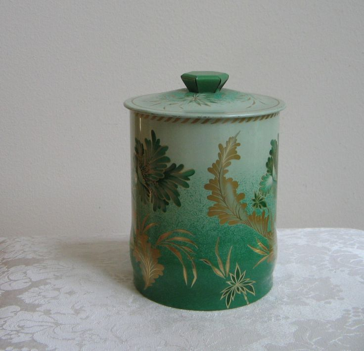 Vintage Round Tin in Green & Gold With Tropical Flourish, Metal Storage Box Kitchen Canister, Made in England by vintagenowandthen on Etsy