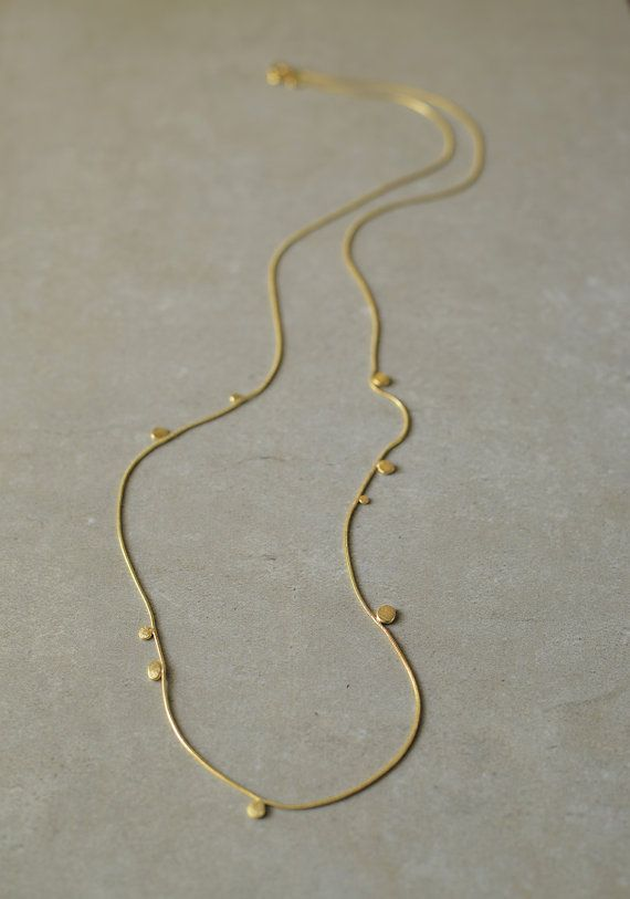 gold dot necklace, long gold necklace, simple and delicate, statement necklace, circle, elegant, hand made one of a kind, woman jewelry