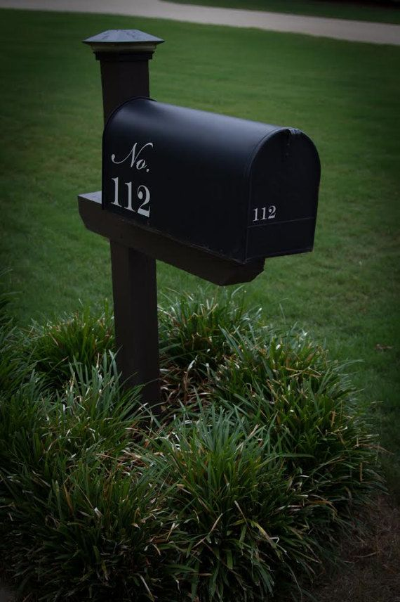 Mailbox Address Number Script Style Lettering Vinyl Decals Set Of