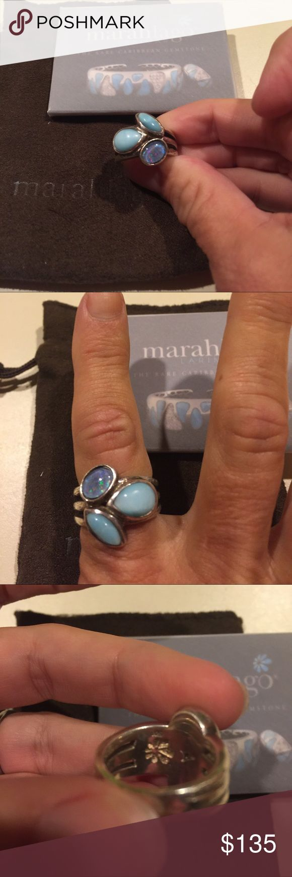 Marahlago Australian opal ring with Larimar Marahlago Australian opal and Larimar ring set in Sterling silver. Very beautiful only worn a handful of times! Have anti tarnish bag registration and cleaning cloth. It's gotten too big. Size 7 Marahlago Jewelry Rings