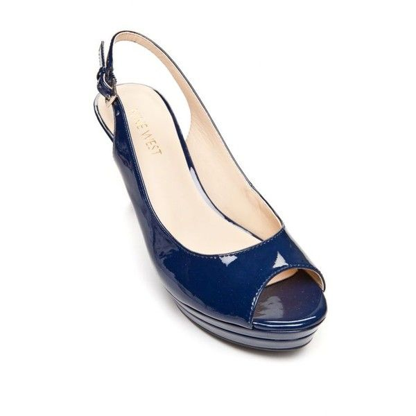 Nine West Navy Abel Slingback Pumps - Women's ($60) ❤ liked on Polyvore featuring shoes, pumps, navy, slingback shoes, navy slingback shoes, slingback platform pumps, nine west pumps and platform pumps