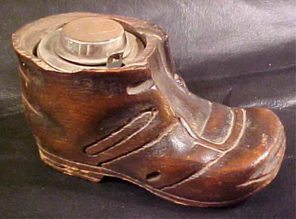 DIP PEN INKWELL, PLACED IN A  HAND CARVED/SIGNED  WOODEN SHOE.