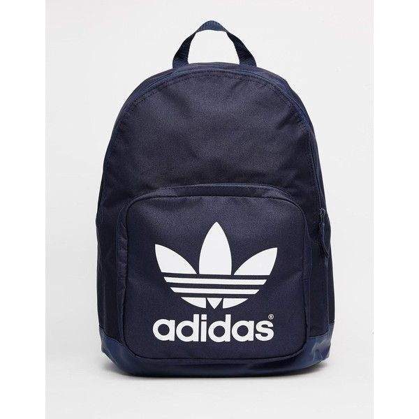 adidas Originals Classic Navy Backpack ($33) ❤ liked on Polyvore featuring bags, backpacks, navy, navy blue bag, print backpacks, knapsack bags, navy bag and navy backpack