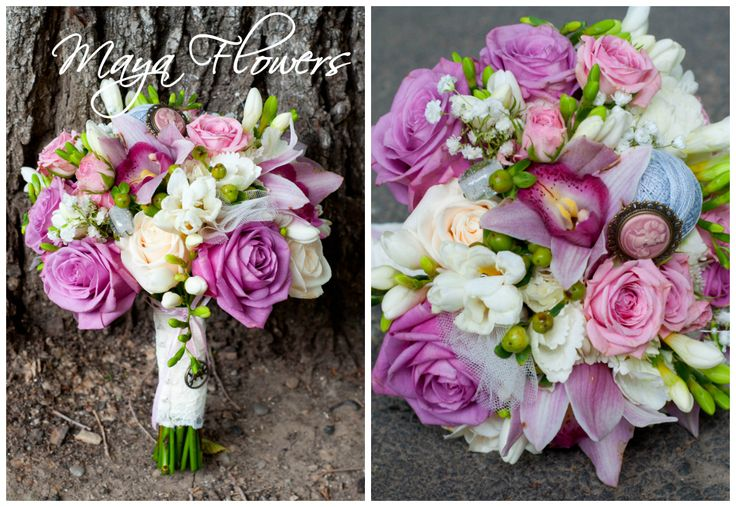 wedding bouquet - buchet mireasa lila - alb (www.maya-flowers.blogspot.ro)