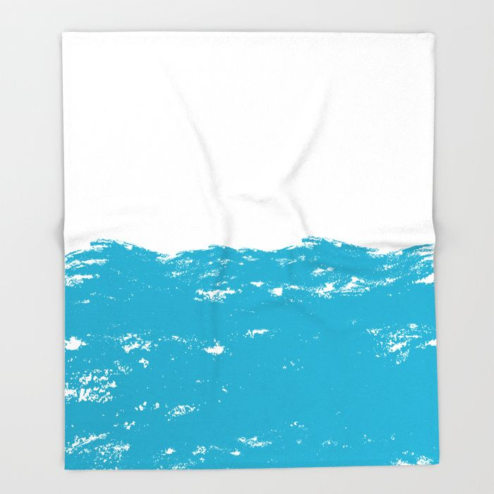 $49.99 Made of 100% polyester and sherpa fleece, these might be the softest blankets on the planet. #blanket #home #decor #water #nature #waves #aquatic #elegant #brush #strokes #paint #sea #ocean #modern #creative #pattern #abstract #blue #white #buyart #society6 #gift #giftideas
