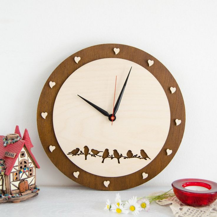 Wooden Wallclock with carved birds