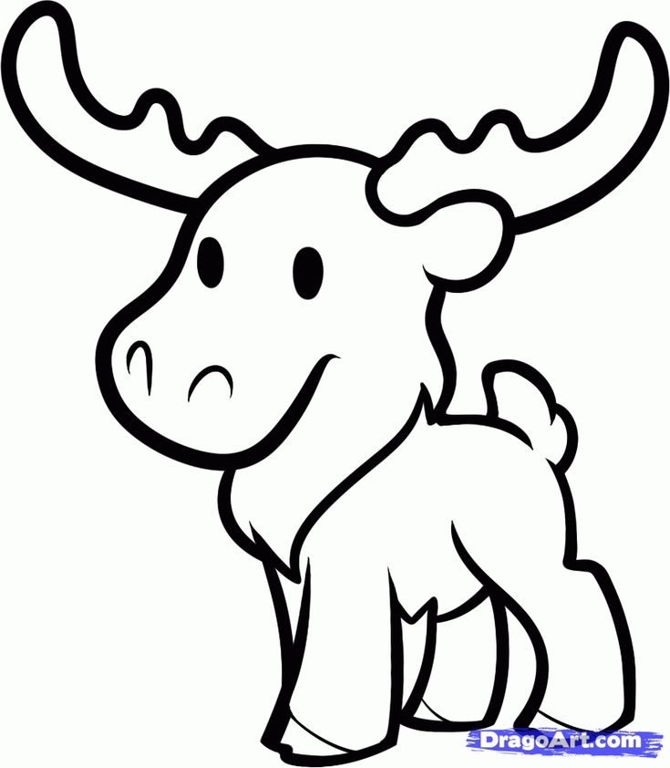 Free Cartoon Moose Coloring Pages Animal Printable For Kids