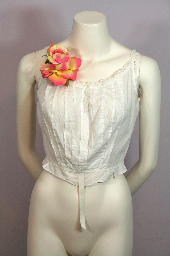 Antique 1900s White Cotton Camisole Chamise Bra Lingerie S