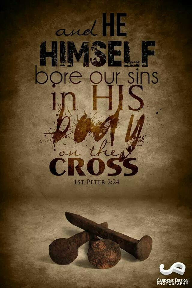 """""""Who his own self bare our sins in his own body on the tree, that we, being dead to sins, should live unto righteousness: by whose stripes ye were healed."""" 1 Peter 2:24"""