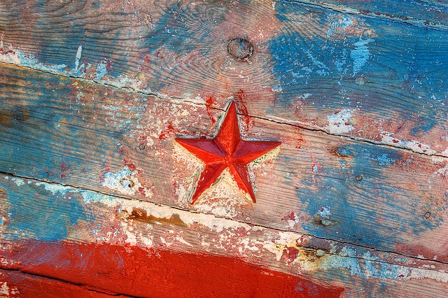 Red Star on an old fishing boat in Katapola, Amorgos, Greece.
