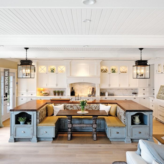 Kitchen island with built in seating - 9GAG