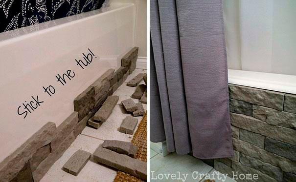 Decora tu bañera de siempre con una imitación de granito.