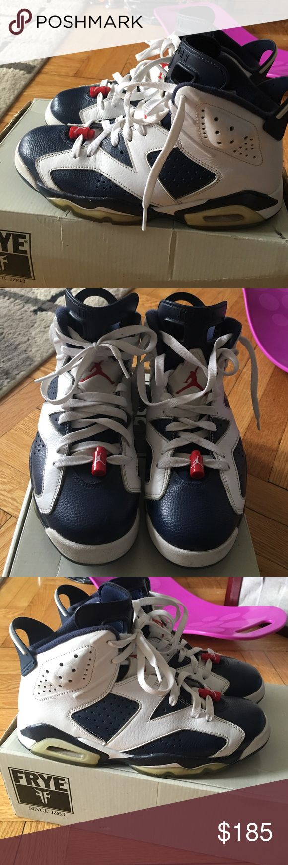 ⏳ MENS air Jordan retro Olympic 7 Good condition showed u all angles nothing to hide . If u notice the bottom is yellowing but when looking from side it is not THAT YELLOW AT ALL NO WHERE NEAR THEY ACTUALLY IN GOOD SHAPE. Everything u see comes with the shoes the laces and lace locks Jordan Shoes Sneakers