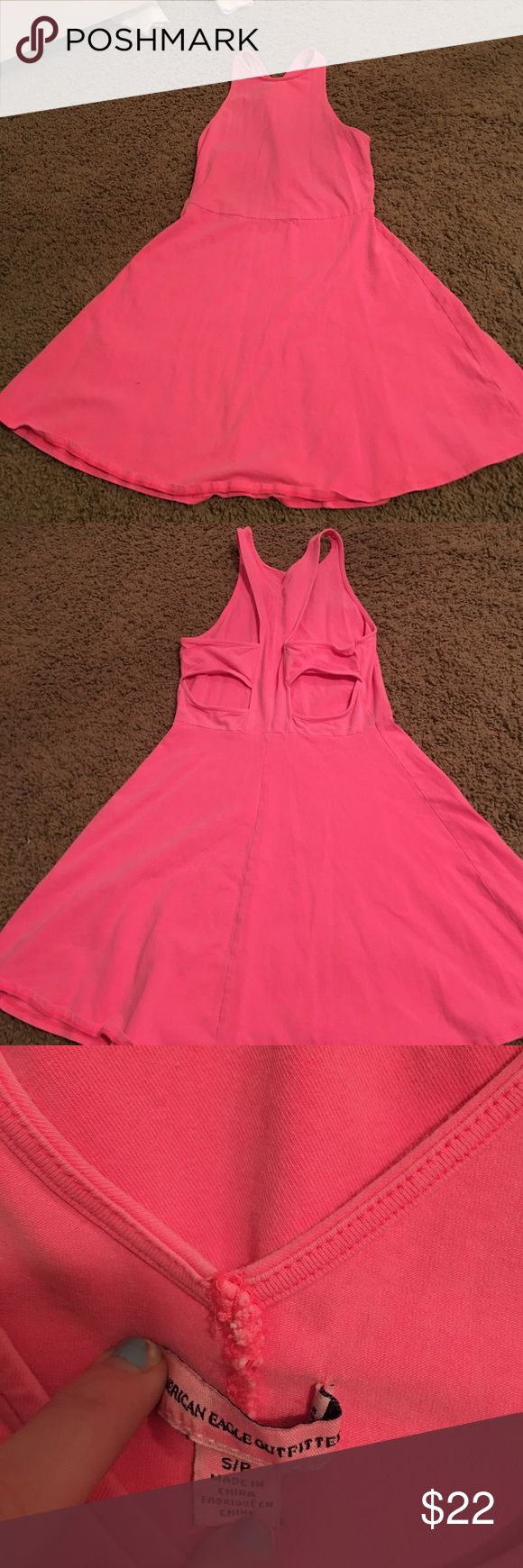 American Eagle neon pink sundress Very cute! Has an open back detail. Tight up top, but bottom flows out like skirt! Size small. Never worn. American Eagle Outfitters Dresses Backless